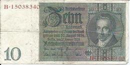 BILLET DE 10 RENTENMARK - BANKNOTE  ZEHNRENTENMARK - [ 3] 1918-1933 : Repubblica  Di Weimar
