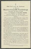Doodsprentje:VANDERBREGT Maurice-Corneille °Ieper, 1893 Gesneuveld Bautersem 19 Augustus 1914.zv. Gust. En Estella DEINE - Religion & Esotérisme