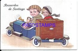 124720 CHILE SANTIAGO ART AUTOMOBILE AND COUPLE WINDOWS 10 TEN MINI PHOTO POSTAL POSTCARD - Chile
