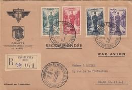 LETTRE. FRANCE LIBRE. COMITE MONUMENTS GENERAL LECLERC AU MAROC. PAR AVION. RECOMMANDE CASABLANCA POUR MACON - Militaria