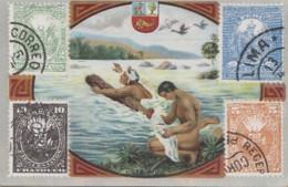 """Poste Et Facteurs - Chromo """"La Poste Au Pérou"""" - Toilette Courrier Fleuve - Publicité Pharmacie - Timbre Blason - Post & Briefboten"""