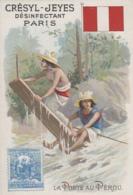 """Poste Et Facteurs - Chromo """"La Poste Au Pérou"""" - Courrier Planche Bois Fleuve - Publicité Crésyl-Jeyes - Drapeau - Postal Services"""