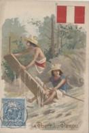 """Poste Et Facteurs - Chromo """"La Poste Au Pérou"""" - Courrier Planche Bois Fleuve - Postal Services"""