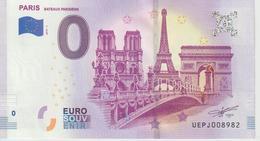 Billet Touristique 0 Euro Souvenir France 75 Paris Bateaux Parisiens 2019-1 N°UEFJ008982 - EURO