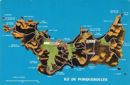 83. ILE DE PORQUEROLLES . CARTE GÉOGRAPHIQUE DE LA PERLE DES ILES D'OR . - Porquerolles