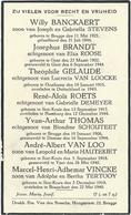 Doodsprentje: BANCKAERT; BRANDT; GELAUDE; ROETS; THOMAS; VAN LOO; VINCKE Sint-Kruis. Gesneuveld - Religion & Esotérisme