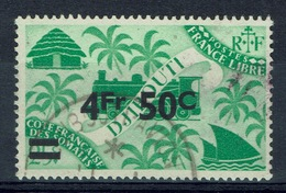 French Somali Coast, 4fr50/25c., London Set Overprint, 1945, VFU - French Somali Coast (1894-1967)