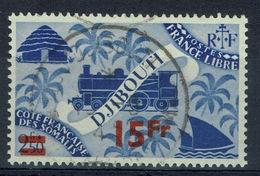 French Somali Coast, 15fr./2f.50c, London Set Overprint, 1945, VFU - French Somali Coast (1894-1967)