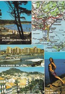 83. ILE DE PORQUEROLLES (ENVOYE DE) . SITUATION GÉOGRAPHIQUE ET  MULTI VUES LEVANT. PORQUEROLLES. HYERES .ANNEE 1975 - Porquerolles