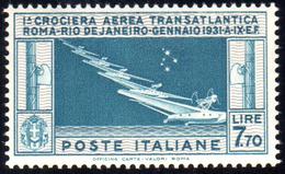 1930 - 7,70 Lire Crociera Balbo (25), Gomma Integra, Perfetto. Cert. Ferrario.... - Italien