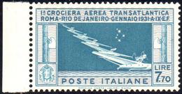 1930 - 7,70 Lire Crociera Balbo (25), Ottima Centratura, Bordo Di Foglio, Gomma Integra, Perfetto. G... - Italien