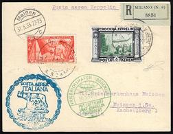 1933 - 3 Lire Zeppelin, 1,75 Lire Marcia Su Roma (45,337), Perfetti, Su Cartolina Raccomandata Da Ro... - Italien