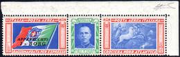 """1933 - 5,25 + 19,75 Lite Trittico I-BORG, Varietà """"ciuffo"""" (51Da), Angolo Di Foglio, Gomma Originale... - Italien"""