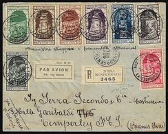 1934 - Annessione Di Fiume, Posta Aerea, Otto Valori (60/65,67,68), Su Aerogramma Raccomandato Da Ni... - Italien