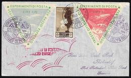 1934 - 5 Lire E 7,70 Lire Etichette Per Esperimento Di Posta Razzo Con 10 Cent. Medaglie Al Valore (... - Italien