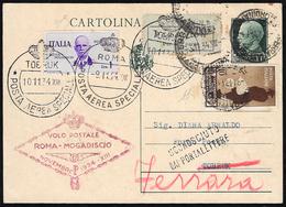 1934 - 1 Lira Roma - Mogadiscio, 10 Cent. Medaglie Al Valore (83,366), Ad Integrazione Di Cartolina ... - Italien