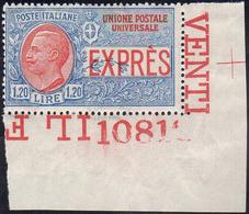 1922 - 1,20 Lire Non Emesso (8), Angolo Di Foglio Con Numero Di Tavola, Gomma Integra, Perfetto. Spl... - Italien