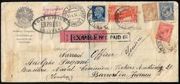 1934 - 2,50 Lire Marcia Su Roma, 1,25 Lire Imperiale (E18,253), Difettosi, Su Busta Per Espresso Ini... - Italien