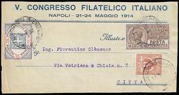 1914 - 10 Cent. Posta Pneumatica, 2 Cent. Floreale (1,69), Su Frontespizio Di Stampato Da Napoli Pos... - Italien