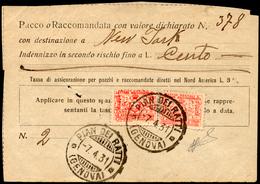 1931 - 1 Lira E 2 Lire Rosso, Assicurazioni D'Italia (4,5), Uno Con Lieve Piega Passante, Su Ricevut... - Italien