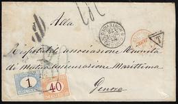 1878 - 1 Lira Azzurro Chiaro E Bruno, 40 Cent. Ocra E Carminio (11,8), Perfetti, Su Busta Non Affran... - Italien