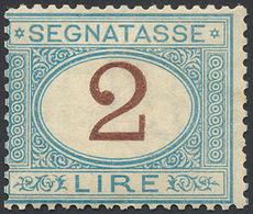 1870 - 2 Lire Azzurro Chiaro E Bruno (12), Discreta Centratura, Gomma Originale, Perfetto. Raro! Cer... - Italien
