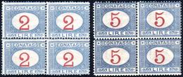 1903 - 2 E 5 Lire Azzurro E Carminio (29/30), Blocchi Di Quattro Perfetti, Gomma Originale Integra. ... - Italien