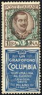 1924 - 1 Lira Columbia (19), Ornato Floreale Leggermente Spostato A Destra, Gomma Originale Integra,... - Italien