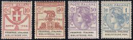 FEDERAZ. ITALIANA BIBLIOTECHE POP. 1924 - Serie Completa (34/37), Gomma Integra, Perfetti.... - Italien