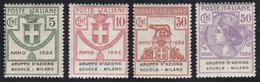 GRUPPO D'AZIONE SCUOLE-MILANO 1924 - Serie Completa (38/41), Gomma Integra, Perfetti.... - Italien