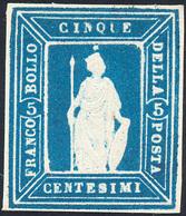 1862 - Saggi Thermignon, 5 Cent. Azzurro (Unif. 6, Bolaffi N.SIII/A), Perfetto. Molto Bello E Raro! ... - Italien