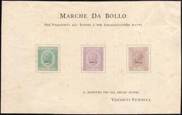 1863 - 1 Lira, 10 Lire, 1,50 Lire Marche Da Bollo Passaporto E Legalizzazione, Foglietto Con Tre Ese... - Italien