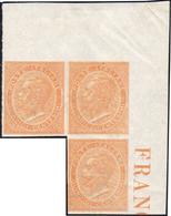 1863 - 15 Cent. De La Rue, Prova Di Stampa Su Carta Filigranata, Non Dentellata, Striscia Di Tre A S... - Italien