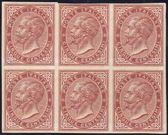 1863 - 5 Cent. Bruno Cupo De La Rue, Prova Di Stampa Su Carta Filigranata, Non Dentellata, Blocco Di... - Italien