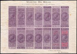 1863 - Foglietto Con 14 Esemplari Di Marche Da Bollo Per Cambiali, Valori Differenti, Soprastampati ... - Italien