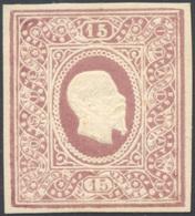 1864 - 15 Cent. Saggio Re, Ovale Riquadrato, Bruno Porpora (Unif. 31), Gomma Originale, Perfetto. Fe... - Italien