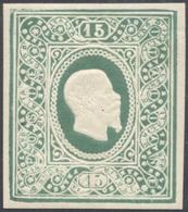 1864 - 15 Cent. Saggio Re, Ovale Riquadrato, Verde Scuro (Unif. 31),  Gomma Originale, Perfetto. Fer... - Italien