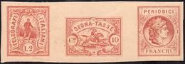 1864 - Saggi Hummel, Periodici Franchi, Segnatasse, Telegrafo, Striscia Di Tre, Stampa In Rosso, Sen... - Italien