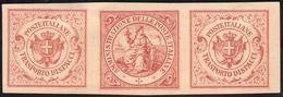 1864 - Saggi Hummel, Striscia Di Tre Con Due Esemplari Stemma E Uno Figura Allegorica, Stampa In Ros... - Italien