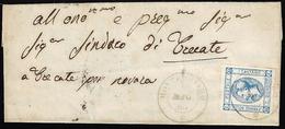 MONTECHIARO, Punti 5 - 15 Cent. (12), Perfetto, Su Sovracoperta Di Lettera Del 5/1863 Per Trecate.... - Italien