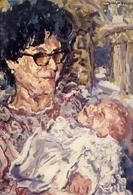 Saturnino - Tenerezza - 1978 - Olio Su Tela - Donnina Con Bambino - Formato Grande Non Viaggiata – E 14 - Musei