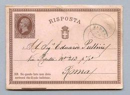 ENTIER VARESE POUR ROME 19/6/1874 - 1861-78 Victor Emmanuel II.