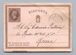 ENTIER VARESE POUR ROME 19/6/1874 - 1861-78 Vittorio Emanuele II