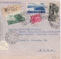 1939 ERITREA TOSELLI C2 (15.5) E Lineare Su Largo Frammento Raccomandata Affrancata Effigie C.75 E Pittorica  2 + PA Lir - Eritrea