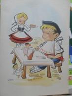 Aldeanos Vascos Illustrateur Dessin 1962 - España
