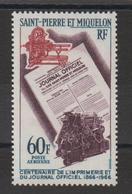 Saint Pierre Et Miquelon 1966 Imprimerie Et JO PA 37 Neuf ** MNH - Airmail