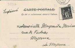 TP N ° 83 Seul Sur Carte Postale De Oyron Avec Cad De Poitiers Gare, Tarif Imprimés - Marcofilie (Brieven)