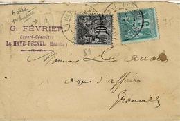 """TP N ° 89 Et 75 Sur Enveloppe De La Haye Pesnel Avec Cachet Boite Urbaine """"A"""" - Marcophilie (Lettres)"""