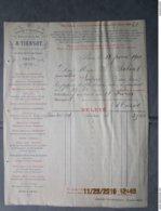 A. TIERSOT  Constructeur De Machines à Couper Ateliers à Coulommiers 1865 - PARIS 16 Rue Des Gravilliers - Facture 1901 - France