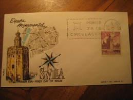 SEVILLA 1966 Torre Del Oro Gold Tower Architecture Fdc Spain Spd Cancel Cover Madrid - 1931-Hoy: 2ª República - ... Juan Carlos I